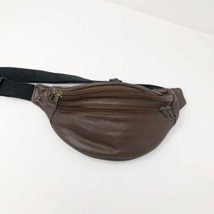 Handbags - Chocolate Leather Waist Belt Adjustable w Pockets